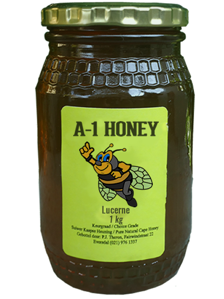 1 Kilogram Raw Lucerne Natural Cape Honey For Sale in South Africa - Glass Bottled - A-1 Honey