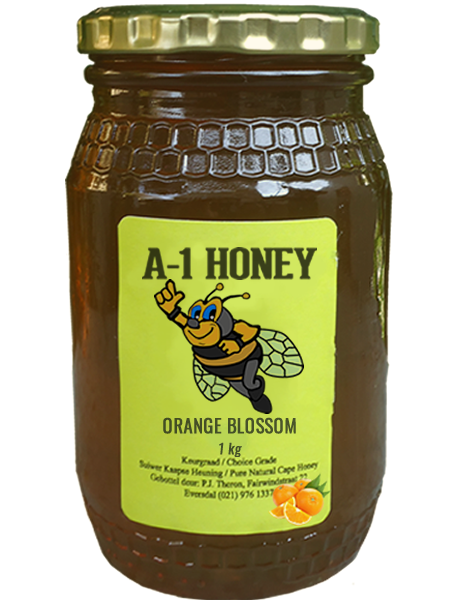 1 Kilogram Raw Orange Blossom Natural Cape Honey For Sale in South Africa - Glass Bottled - A-1 Honey