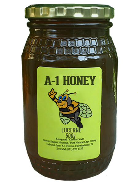 500 Gram Raw Lucerne Natural Cape Honey For Sale in South Africa - Glass Bottled - A-1 Honey
