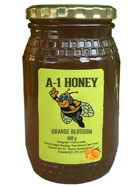 500 Gram Raw Orange Blossom Natural Cape Honey For Sale in South Africa - Glass Bottled - A-1 Honey